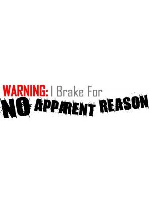 Warning I Brake For No Reason Bumper Sticker