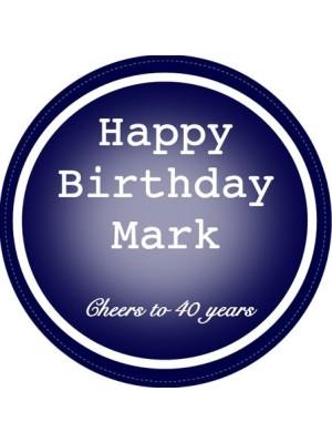 Happy Birthday Blue Circle Wine Label