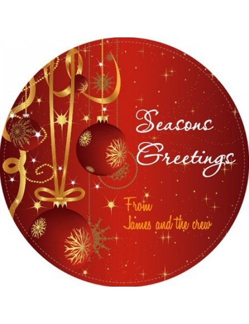 Christmas Red Circle Wine Label
