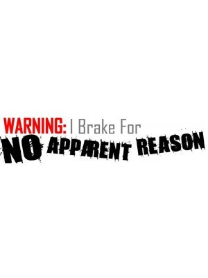 Warning I Brake For No Reason Bumper Sticker