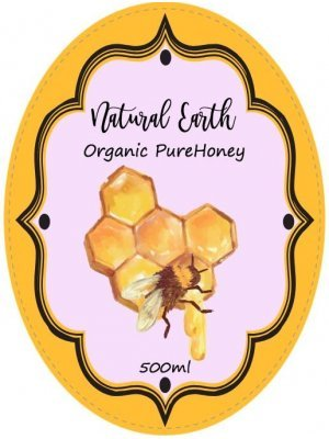 Natural Organic Honey Oval Label