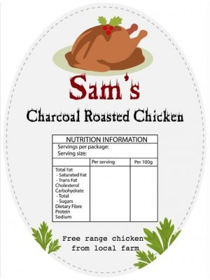 Sams Roasted Chickens Oval Product Label