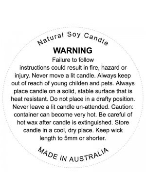 Soy Candle Warning Label Sticker