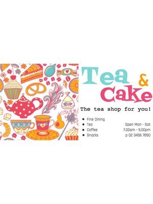 Tea and Cake Shop Label