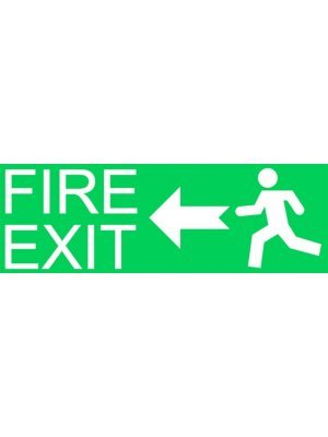 Fire Exit Left Warning Sign Sticker