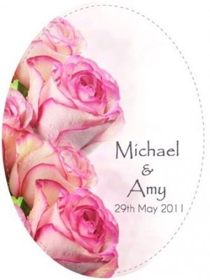 Wedding Rose Oval Wine Label