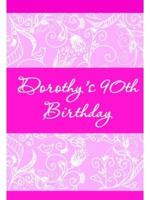 Pink Birthday Wine Label
